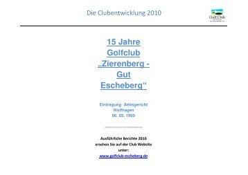 Die Clubentwicklung 2010 - Golfclub Escheberg