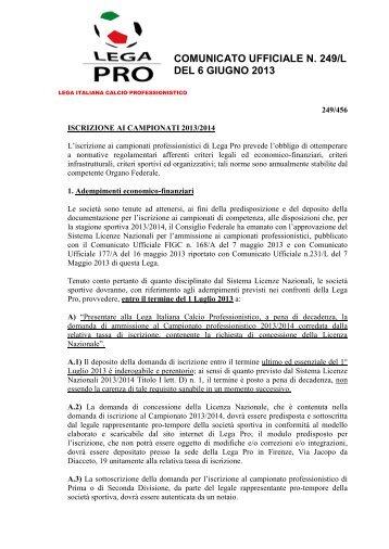 LP - Iscrizione campionato 13-14 - Diritto Calcistico