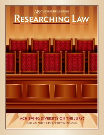 Vol. 21, No. 1, Winter 2010 - American Bar Foundation