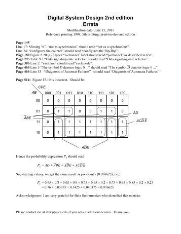 Digital System Design 2nd edition Errata