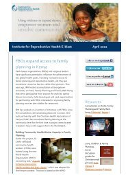 FBOs expand access to family planning in Kenya - Institute for ...