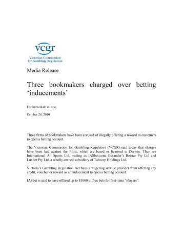 Three bookmakers charged over betting - Victorian Commission for ...