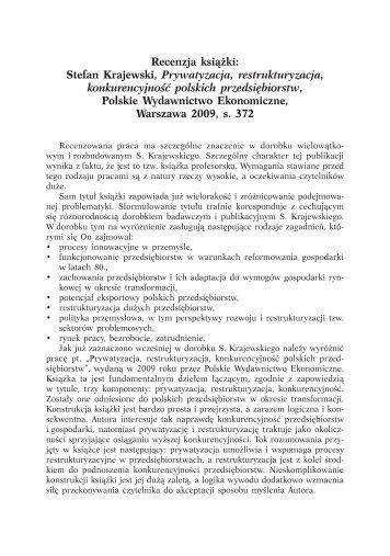 Stefan Krajewski, Prywatyzacja, restrukturyzacja, konkurencyjność ...