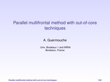 Parallel multifrontal method with out-of-core techniques