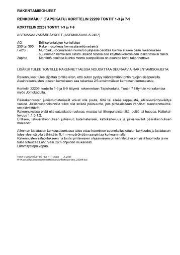 KORTTELIN 22209 TONTIT 1-3 ja 7-9 - Lahti