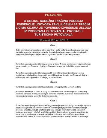 pravilnik o obliku, sadržini i načinu vođenja evidencije ugovora ...