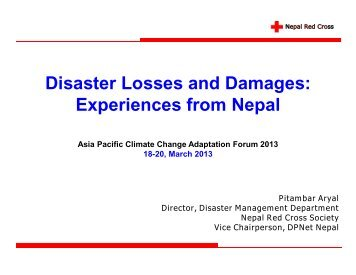 Disaster Losses and Damages: Experiences from Nepal Disaster ...