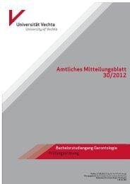 Amtliches Mitteilungsblatt 30/2012 Prüfungsordnung für den ...
