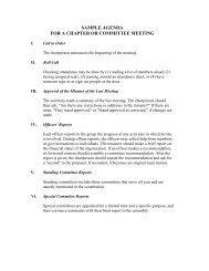SAMPLE AGENDA FOR A CHAPTER OR COMMITTEE MEETING