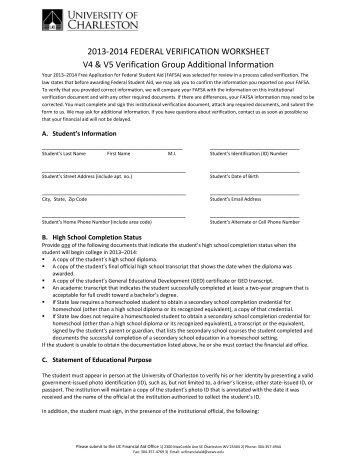Verification Worksheet Dependent V5 Bucks County Community