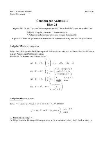 ¨Ubungen zur Analysis II Blatt 24