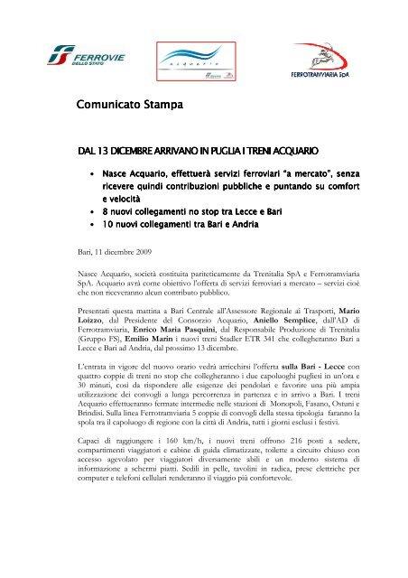 Comunicato Comunicato Stampa - Trenitalia