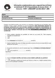 Especialidades de Acesso Direto – 2º Concurso - FCM - Unicamp
