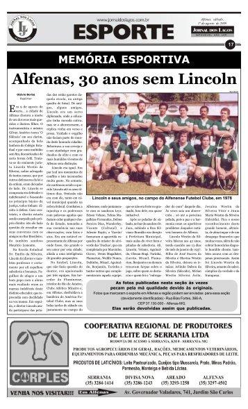 Alfenas, 30 anos sem Lincoln - Jornal dos Lagos