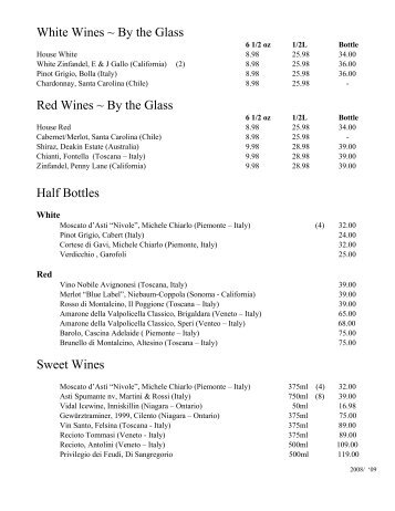 White Wines ~ By the Glass Red Wines ~ By the Glass Half Bottles ...
