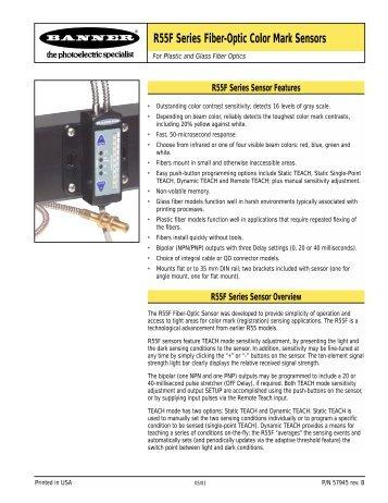 Push Button R55F Series Fiber-Optic Color Mark Sensors - Multiprox