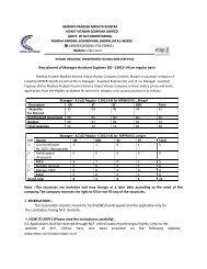 Recruitment of Manager-Assistant Engineer (D) – (2013 ... - Mpcz.co.in