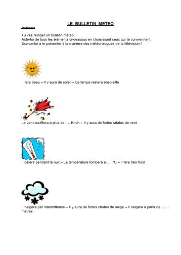 LE BULLETIN METEO - Enseignons.be