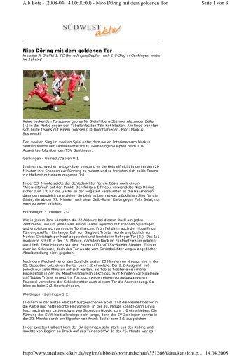 Seite 1 von 3 Alb Bote - (2008-04-14 00:00:00) - Nico Döring mit ...