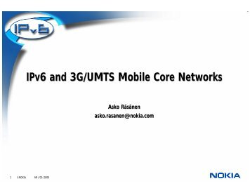 IPv6 and 3G/UMTS Mobile Core Networks