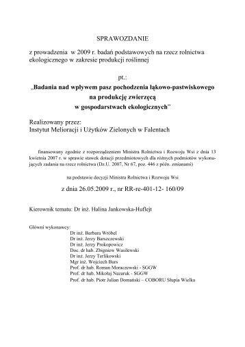 Sprawozdanie z prowadzenia w 2009 r. badań podstawowych na ...