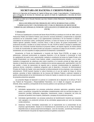 SECRETARIA DE HACIENDA Y CREDITO PUBLICO - FOCIR