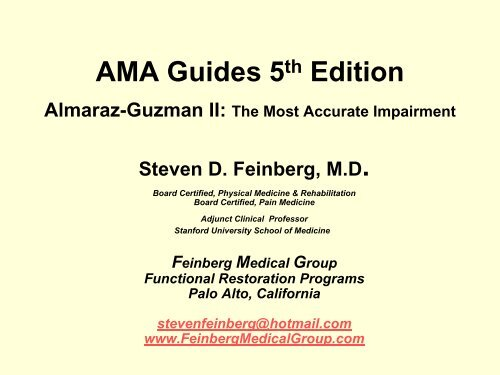 AMA Guides 5th Edition - California Orthopaedic Association