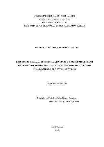 Estudos de relação estrutura atividade e docking - UFRJ