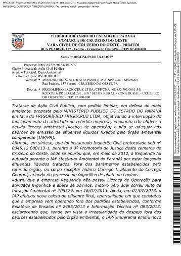 decisão liminar - Ministério Público do Paraná
