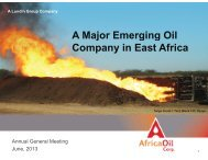 A Major Emerging Oil Company in East Africa - Africa Oil Corp.
