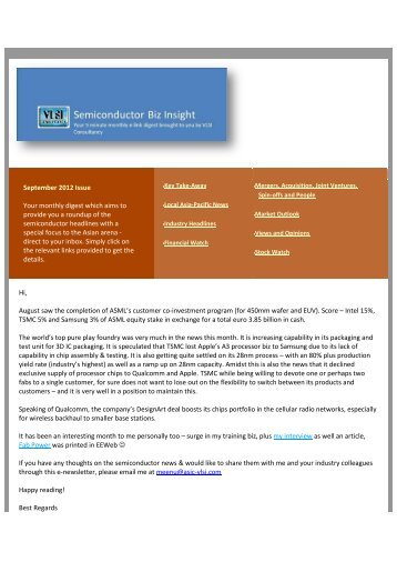 September 2012 Issue Your monthly digest ... - VLSI Consultancy