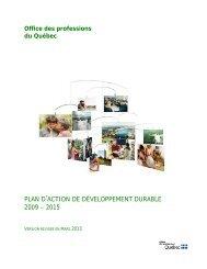 Plan d'action de développement durable - Office des professions du ...