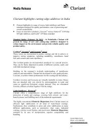 Media Release Clariant highlights cutting-edge additives in India