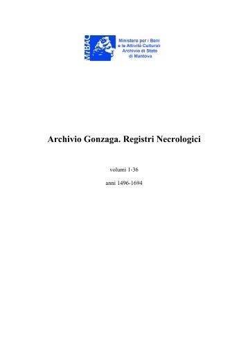 Archivio Gonzaga. Registri Necrologici