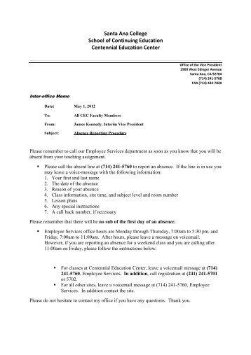 Memo Absence Reporting Procedure - Santa Ana College