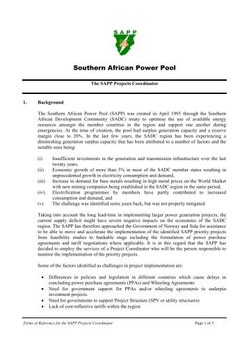 Regional power status in african power pools the infrastructure southern african power pool sapp sciox Images