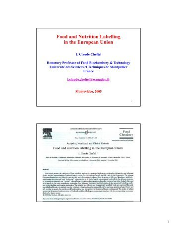 Food and Nutrition Labelling in the European Union