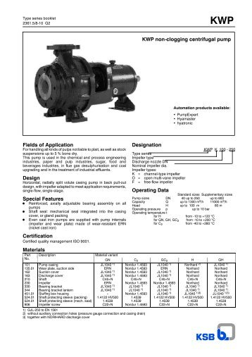 KWP non-clogging centrifugal pump Fields of Application ... - Saga