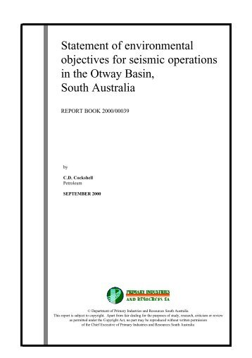 Statement of environmental objectives for seismic operations ... - MISA