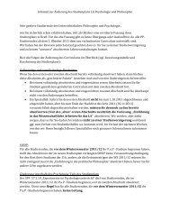 Informationen zur Umstellung des Studienplans