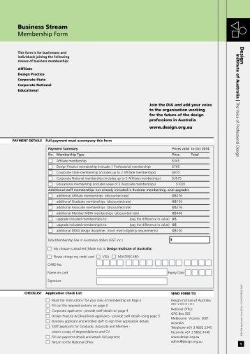 Business Stream Membership Form - Design Institute of Australia