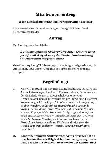 Misstrauensantrag - Liste Fritz