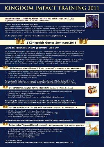 5 Königreich-Gottes-Seminare 2011 - Kingdom Impact