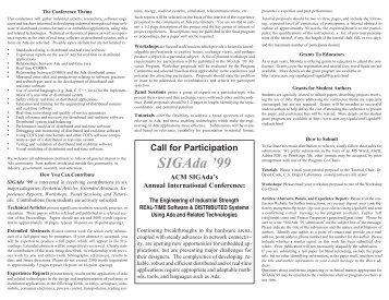 Call for Participation SIGAda '99