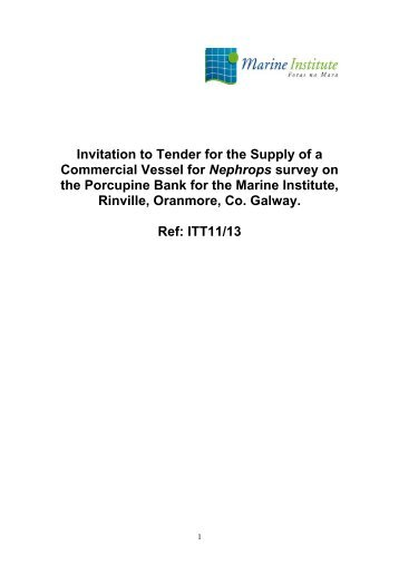 Invitation to Tender for the Supply of a Commercial ... - Marine Institute