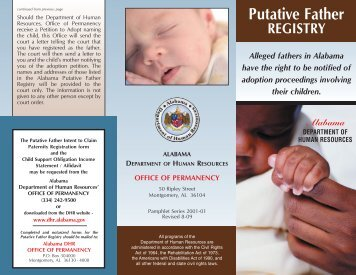 Putative Father Registry - Alabama Department of Human Resources