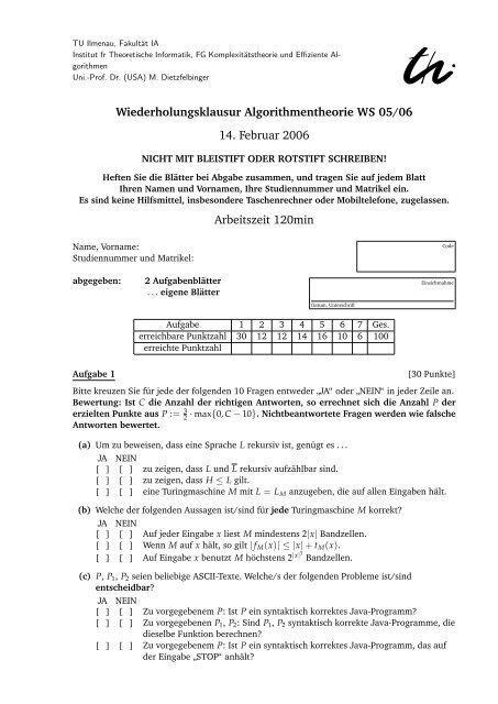 Klausur WS 05/06 - Automaten und Formale Sprachen