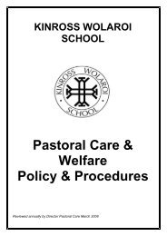 Pastoral Care & Welfare Policy & Procedures - Kinross Wolaroi School