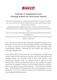 Pirelli beim 79. Automobilsalon in Genf: Technologie im Dienste der ...