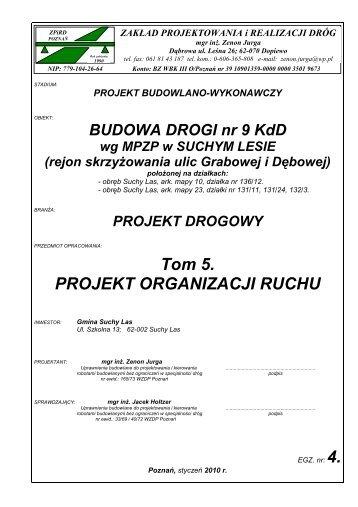 Tom 5. PROJEKT ORGANIZACJI RUCHU - Gmina Suchy Las